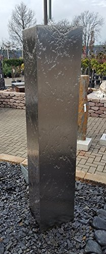 garten-wohnambiente Säulenbrunnen eckig 80/20 cm Edelstahl matt gebürstet Säule Wasserspiel Springbrunnen