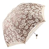 Honeystore Triple Folding Sun Parasol Princess Lace Outdoor Collapsible Umbrella Yellow