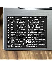 SYNERLOGIC クロムOSリファレンスキーボードショートカットステッカー – ブラックビニール – サイズ3 x 2.4インチ すべてのChromebook ノートパソコン対応 ブランド Google Pixelbook HP Asus Acer Lenovo Samsung Dellなど