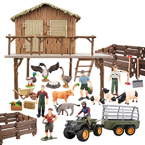 Toymany 37PCS Big Farm Animals Figurines Toy with Barn House Motorcycle Fence - Farm Tractor Figures Set with Farmers Pigs Foods  Educational Toys Christmas Birthday Gift or Kids Toddlers