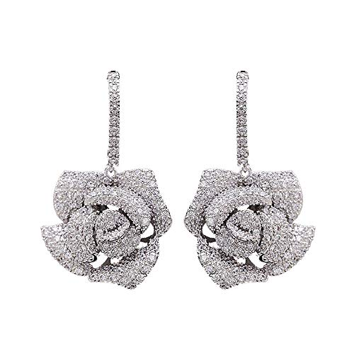 Huggie CZ Flower Dangle Stud Earrings for Women Girls with Charms Fashion Luxury Pave Rhinestone Filigree Camellia Rose Dainty Crystal Drop Dangling Wedding Prom Jewelry Dainty Gift