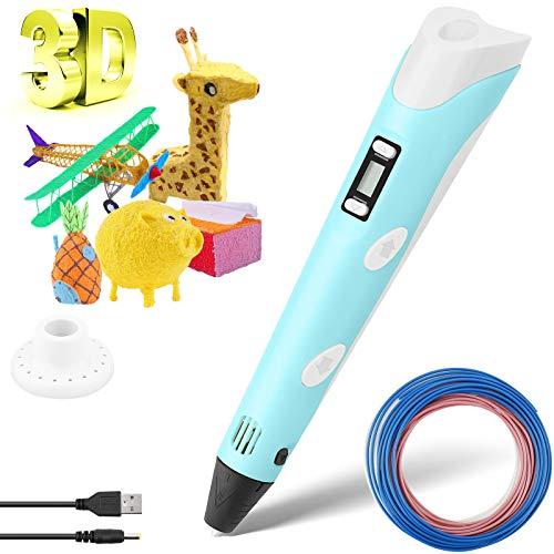 WERPOWER Penna 3D, 3D Penna di Stampa con Filamento Schermo LCD 3D Pen Intelligente Controllo della Temperatura per la Stampa di Regali Fai-da-Te Creativo Facile da Usare per i BGambini