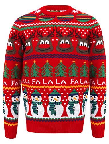 """Tokyo Laundry - Maglione natalizio """"Merry Christmas"""" con luci LED, a girocollo Rudolph George - Carta da parati, colore: Rosso L"""