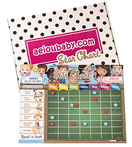 aeioubaby.com BELOHNUNGSTAFEL Magnetisch Groß | Sternchenplan für Wand oder Kühlschrank, 43x32cm. 22 Tätigkeiten, 2 Stifte und 1 Ballon | Geschenkbox Kinder und Geburtstage (Englisch)