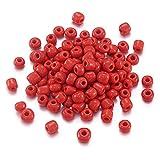 Cerca de 495 cuentas de cristal 6/0 de Cheriswelry, 4 mm, redondas, para joyas, pulseras, manualidades, color rojo