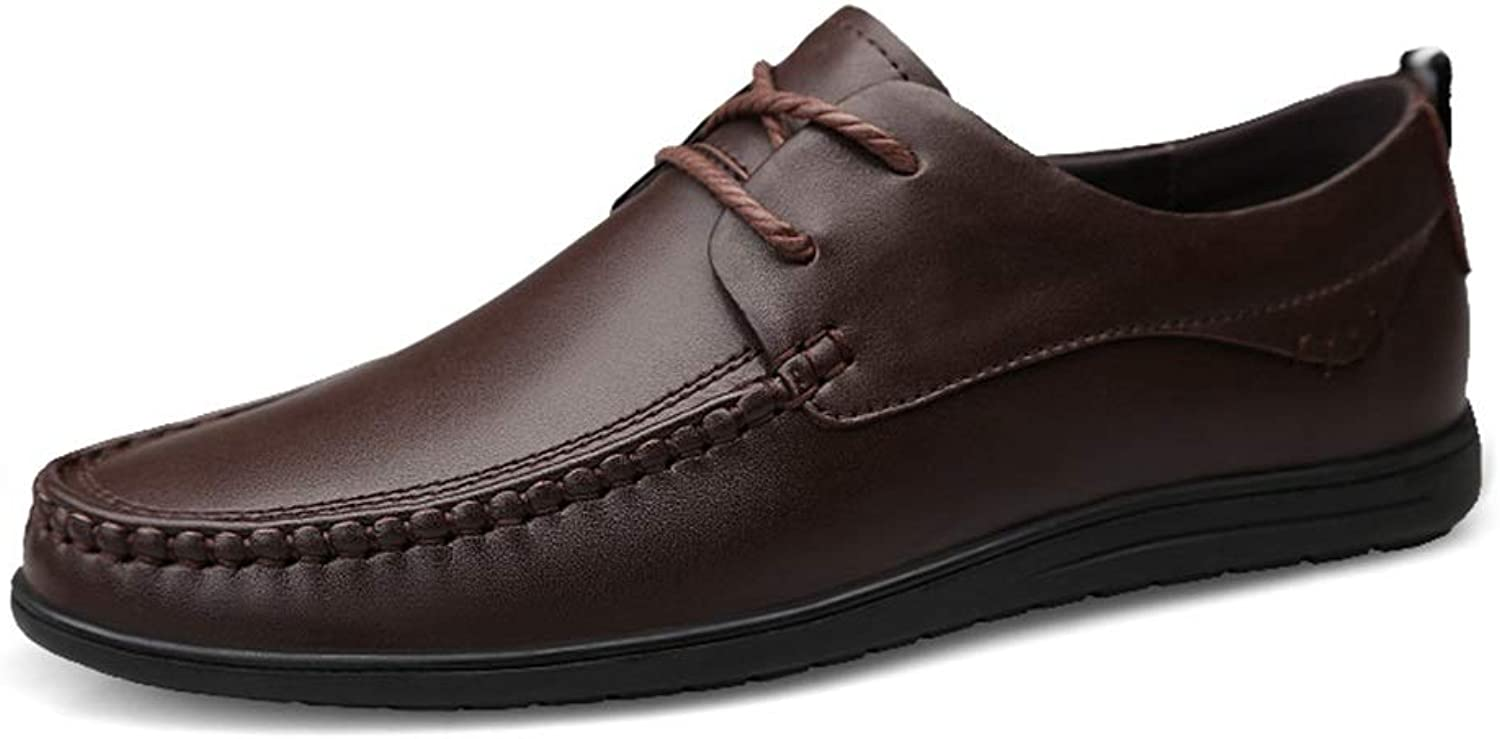 Hetai for Men Stylish Loafer Lace Up Style Genuine Leather Oxfords Soft Comfortable Hand Sewing Lined shoes