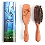 Made in Germany, 100% Pure Wild Boar Bristle Hair Brush, Model PW1, Stiff 1st Cut Natural Bristles, Pear Wood Handle, Premium Hairbrush, by Desert Breeze Distributing