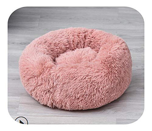 star-xing Gepolsterte Hundegeschirre Winter Haustier Hund Katzenbett Shag Warm Fluffy Soft Plüsch Runde Cute Donut Nest Kissen Matte Comfoable-Skin Pink-60cm,