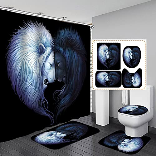OLEBETY 4PCS/Set Majestic Noble White Black Lion Shower Curtain, Mythology Brave Lion King Wild Animal Bathroom Deocr, Waterproof Fabric Black Bath Curtain, Non-Slip Bath Rug Toilet MatS, Sun & Moon
