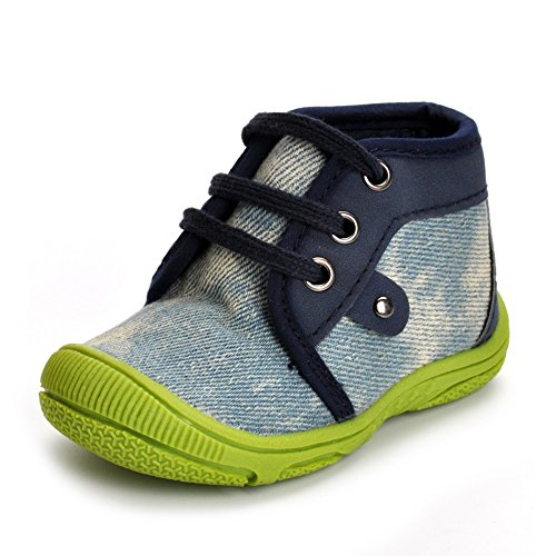 Kuner Baby Boys and Girls Cotton Rubber Sloe Outdoor Sneaker First Walkers Shoes (13.5cm(12-18months), Denim)