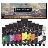 GC QUILL Juego de Pintura Acrílica 12 ml x 48 tubos para principiantes, estudiantes, adultos artista en madera, cerámica, tela, manualidades GC-AP48
