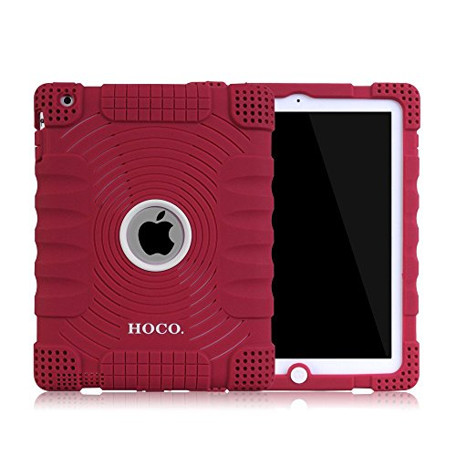 Honeycase Extreme-Duty Military Transformer Hybrid Shockproof & Drop Rresistance Anti-slip Soft Silicone Case Cover for iPad 2 / for iPad 3 / for iPad 4(Wine Red)