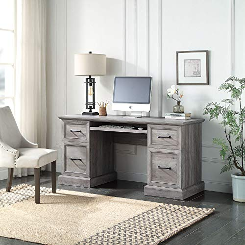 BELLEZE Modern Executive Home Office Computer Desk Table with Two Storage Drawers, Two File Drawers, Slideout Keyboard, and Mouse Shelf - Rhudi (Grey Wash)