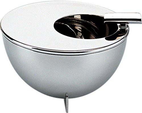 Alessi Bauhaus Aschenbecher mit Edelstahl 18/10 glänzend poliert, 3.5 x 12 x 4.5 cm