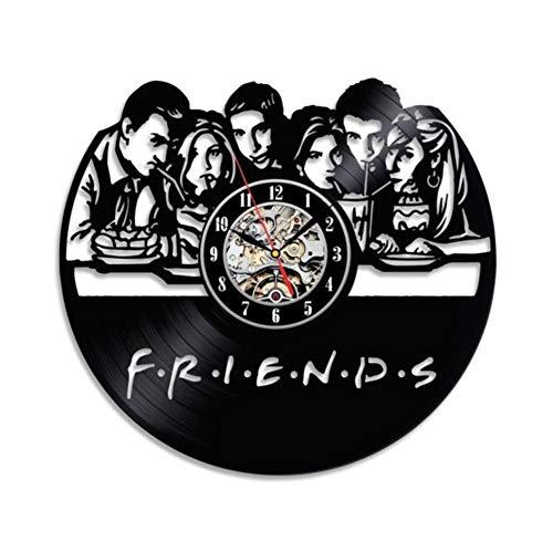 HLJ CW Friends Populaire TV Serie Vinyl Wandklok Stille Wandklok Vinyl LP Wandklok Retro Stijl 30cm Diameter
