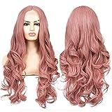 Lace Front Perücke Rosa 27' Haare Lange gewellte Perücken Damen Pink Vebonnie Synthetische Kunsthaar Perücke für Frauen(Rosa)