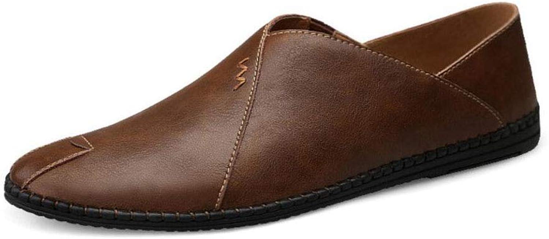 ZIXUAP Men's Leather Dress shoes Casual shoes Slip On Plain Toe Loafer shoes Men Formal Classic Comfortable Business shoes