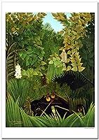 世界の名画 ルソー 陽気な道化たち ジークレー技法 高級ポスター (B3/364ミリ×515ミリ)