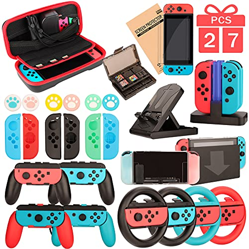 Switch Accessories - Family Bundle Accessories for Nintendo Switch, Carry Case& Screen Protector,4 Pack Joy Con Grips and Steering Wheels, Dockable Case Cover,Stand Mount,Joy Con Charger and More.