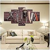 5 Panel Imagen Impresión Herramientas de peluquería Pintura de lienzo Cuadro barbería Decoración del hogar-30x40cmx2 30x60cmx2 30x80cm Sin marco
