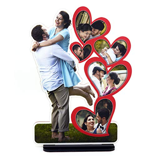 AJANTA ROYAL Personalized Acrylic Couple Cutout Photo Frame Standee, Customized with Your Photos (Red, 10x12 Inch)