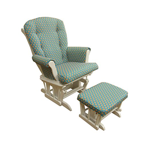 Cotton Tale Designs Gypsy Glider with Ottoman, Floral White/Small