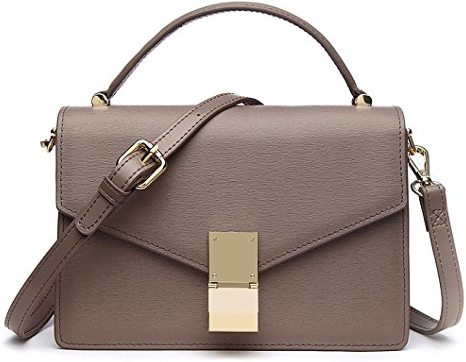 AI BAO Women's Leather Tofu Bag Simple Plain Shoulder Messenger Bag Handbag