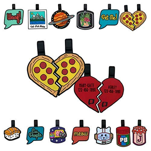 Pizza Your Heart Silicone Dog ID Tag Set