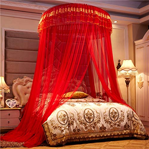 weichuang Mosquito net Romantic Chinese Red Honeymoon Princess Round Mosquito Net Double layer Lace Bed Canopy Tent Folding Dome Mosquito Netting mosquito net (Color : Red)
