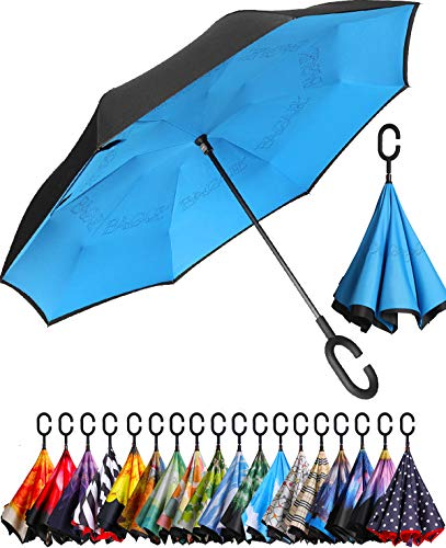 BAGAIL Double Layer Inverted Umbrella Reverse Folding Umbrellas Windproof UV Protection Big Straight Umbrella for Car...