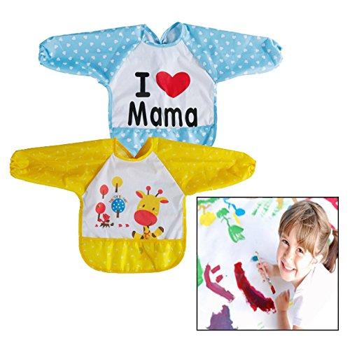 Itian 2 Set Lätzchen mit Ärmeln Baby Lätzchen Wasserdicht Lätzchen Essen und Play Smock Schürze für Kleinkinder