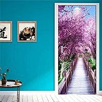 Azbza 3Dドアステッカードア壁画 紫の木々の風景 80 x 210cm 自己接着性3Dドア壁画ピールアンドスティック装飾ステッカーアートキャンバス壁紙リムーバブルアートポスター装飾ドアステッカー装飾ドア壁画DIYウォールステッカー壁紙家の装飾用