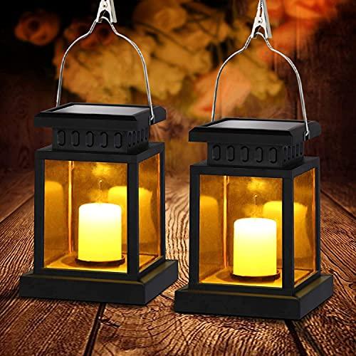 2PCS Linterna Solar Exterior Lámpara de Jardín, Impermeable Luces LED Parpadeantes Sin Llama Plástico Exterior Decorativa Iluminación para Mesa Patio Festival Navidad
