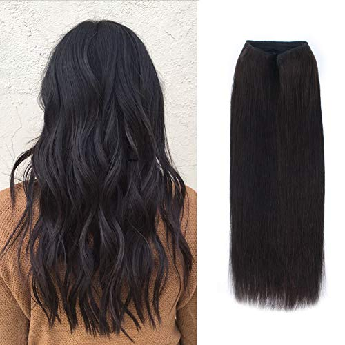 ABH AmazingBeauty Hair Miracle Wire Hair Extensions - Invisible Miracle Wire Remy Human Hair, Off Black 1B, 20 Inch