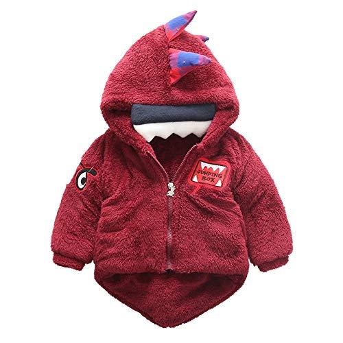 Zjcpow-CL Abrigo de bebé para niños, chaqueta de algodón, ropa de invierno para niños, abrigos de algodón grueso para bebé, invierno (color: rojo, tamaño: 100 cm)