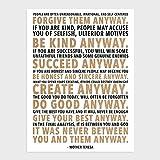 wallsthatspeak Mother Teresa Home Decor Print, Unframed Inspirational Quote Decorations (12' x 16')
