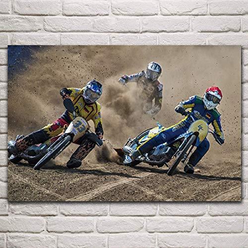 WSHIYI Motocicleta Dirt Drift Race Bike Ilustraciones Deportivas decoración de la Sala de Estar decoración del Arte de la Pared del hogar Carteles 60x90cm (23.6x35.4 Pulgadas) sin Marco