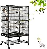 Vogelkäfig Vogelvoliere für Papagei kanarienvögel, große Vogelvoliere mit herausnehmbarem Tablett 94cmX78cm