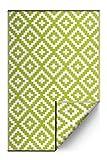 FH Home Alfombra/Alfombra de plástico Reciclado para Interiores/Exteriores - Reversible - Resistente al Clima y a los Rayos UV - Aztec - Leaf Green/White (150 cm x 240 cm)