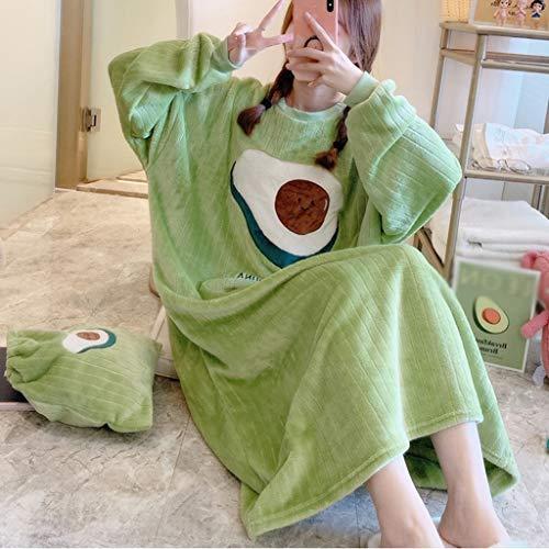 AYDQC 2020 Invierno Coreano Grueso Grueso Franela de Manga Larga camisón Suelto para Mujeres Coral Velvet Sleepwear Vestido de Noche Nightdress Nighty (Color : B, Size : Large)