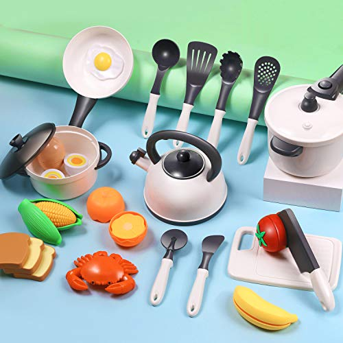 iPlay, iLearn Kids Play Kitchen Toys Accessories Set, Toddler Pots n Pans Cookware Playset, Pretend Play Cooking Utensils W/ Cutting Food, Birthday Gifts for 3 4 5 6 Year Olds Girls Boys Children