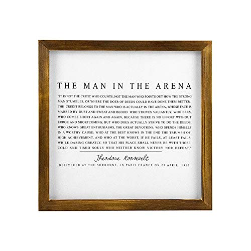 None Brand The Man in The Arena Rustic Wood Wall Sign,Theodore Roosevelt Inspirational Quote Hanging Wood Sign with Frame,Quote Saying Words Sign,Personalized Funny Wooden Label lt58y0uppgl6