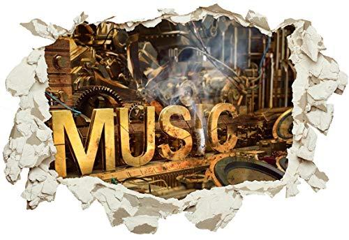 Unified Distribution Music Steampunk - Wandtattoo mit 3D Effekt, Aufkleber für Wände und Türen Größe: 92x61 cm, Stil: Durchbruch