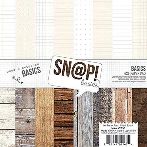 Simple Stories Simple Stories Doppelseitiges Papier Pad 6 x 6 2-snap Farbe Vibe Basics Holz und Notebook, andere, Mehrfarbig