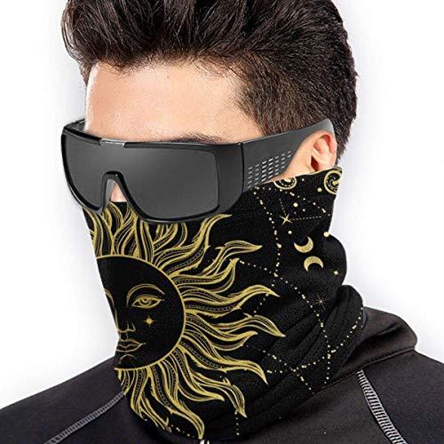 QDAS Mannen Vrouwen Zon Symbool Nek Gaiter Warmer Winddichte Haarband voor Vissen Wandelen Fietsen Zwart