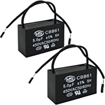 Twidec/2Pcs 450V AC 50/60Hz Run Capacitor 2-Wire Metallized Polypropylene Film Capacitors for Ceiling Fan Motor Start Run 5uf CBB61-5