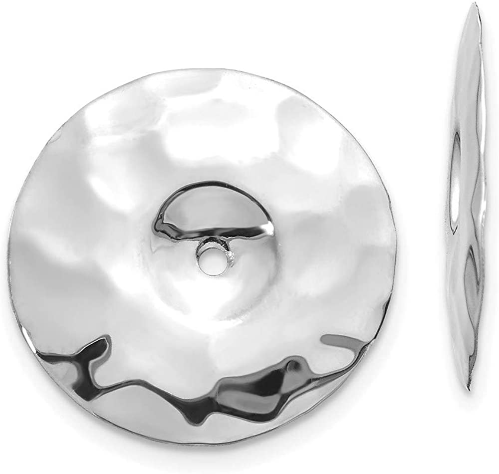 14K White Gold Polished Hammered Disc Earring Jackets