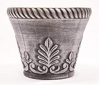 Rustic Venetian Look Plastic Planter 10X8 inches Flowerpot for Indoor, Outdoor, Garden, Patio, Office Ornaments, Home Decor, Long Lasting Reusable, Light Weight, Water Resistant (Silver)