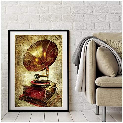 Impresión en lienzo Arte de la pared Pintura en lienzo Carteles e impresiones Fonógrafo antiguo Imágenes artísticas de pared retro bar café Decoración para el hogar 50x70cm / 19.6 'x27.5' Sin marco