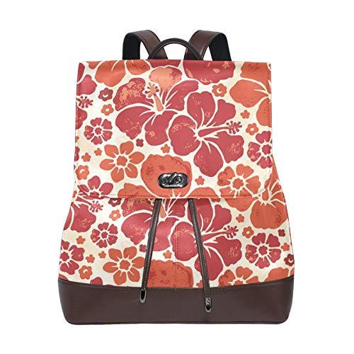 Ahomy - Mochila de cuero para mujer, diseño de flores hawaianas, impermeable, antirrobo, mochila para escuela, casual